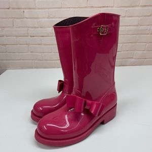 VALENTINO RED V Hot Pink Pull On Tall Rain Boots 9